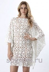 Tunic dress of openwork squares