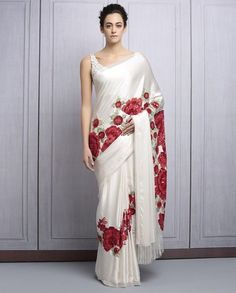 Buy Ivory Satin Sequined Saree By Manish Malhotra online in India at best price. vory satin saree with green and red resham and sequins jaaland flower embroidery, teamed with ivory Fancy Sarees, Party Wear Sarees, Indian Dresses, Indian Outfits, Indian Clothes, Beautiful Saree, Beautiful Dresses, Hanfu, Cheongsam
