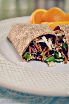 Asian Veggie Wraps with Garlic Ginger Dressing
