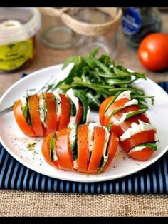 Caprese Salad--maybe we could serve this with the main dish...though we should probably do the more traditional lettuce salad
