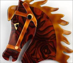 LEA-STEIN-FIGURAL-CHESTNUT-BAY-HORSE-HEAD-GALOPIN-BROOCH-PIN-PLASTIC-FRANCE