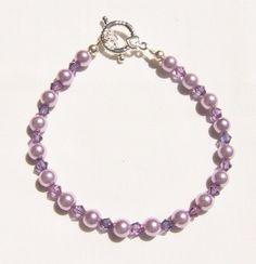 Lavender Pearl Crystal Accent Sterling Silver Bracelet 7 1/2-8