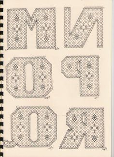 Alphabet M à R Torchon Alphabet, Bobbin Lacemaking, Bobbin Lace Patterns, Lace Heart, Lace Jewelry, Lace Making, Craft Storage, Lace Detail, Tatting