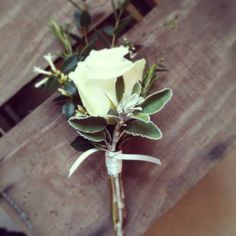 I like this minus the rose and add a sprig of rosemary. Vintage country wedding flowers