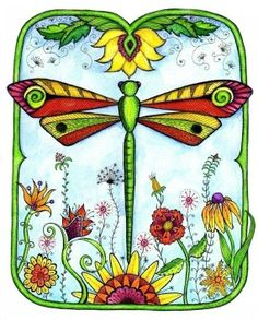 dragonfly pictures to print | Dragonfly Garden - Color Print. $15.00, via Etsy. | my art