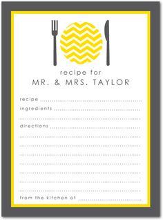 Bridal shower idea. Include recipe card with the invitations.