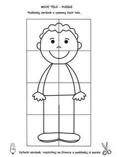 Color and make a puzzle Body Preschool, Preschool Learning, Kindergarten Activities, Teaching Kids, Senses Activities, Craft Activities For Kids, Preschool Printables, Preschool Crafts, Body Parts Theme