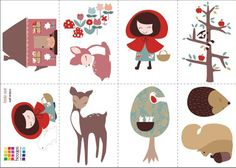 Roodkapje Muurstickers, ieder plaatje is een A4 formaat sticker. www.dreumesenzo.nl little red riding