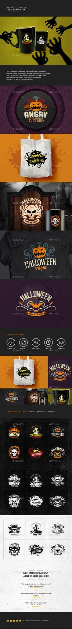 Happy Halloween Badge Logo Design Templates - Badges & Stickers Web Elements Template PSD. Download here: https://graphicriver.net/item/happy-halloween-logo-templates/17912834?ref=yinkira