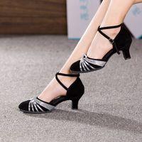 Women Ladies Ballroom Modern Dance Shoes Closed Toe Indoor Dancing Shoes Tango Salsa Performance Heels 3.5/5.5/7cm