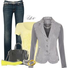 """Yellow & Gray"" by tmlstyle on Polyvore"