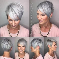 Choppy Gray Pixie With Side Bangs