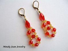 Beaded Crystal Earrings Beaded Dangle Earrings by MindyJeanJewelry, $27.00