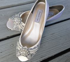 Gatsby Peep Toe Wedge Wedding shoes All full by BeholdenBridal (come in wide widths, other colors available; $175) Wide Fit Bridal Shoes, Diy Wedding Shoes, Wedge Wedding Shoes, Peep Toe Wedges, Peep Toe Shoes, 1920s Shoes, Bride Flats, Prom Heels, Rhinestone Wedding