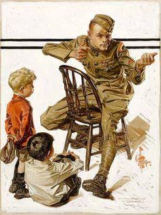 "J.C. Leyendecker 1919 ""War Hero Telling Stories"" / Cover of Saturday Evening Post"