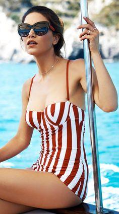 Striped Retro One Piece Swimsuit by Negin Mirsalehi #style#swimsuit#womensfashion