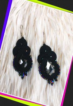 Soutache earrings Black , TOHO Round Metallic Rainbow Iris