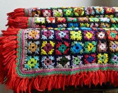 Dekking van de Boheemse geruite multicolor wol haak