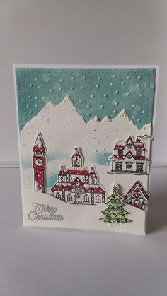 Christmas Cards 2017, Christmas Scenes, Xmas Cards, Holiday Cards, Scrapbook Cards, Scrapbooking, Hero Arts Cards, Oct 2017, Winter Cards