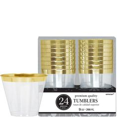 CLEAR Gold Trimmed Premium Plastic Cups 24ct