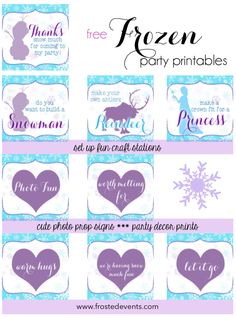 Free Frozen Printables- Frozen theme party decorations Frosted Events www.frostedevents.coma   #frozen