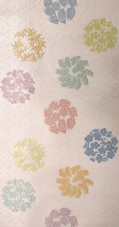 A closeup of the patterns on a panel of heian fabric.