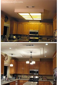 replacing updating fluorescent ceiling box lights with ceiling molding home maintenance repairs kitchen design lighting woodworking projects Removing the fixture definitely makes the space feel less dated Kitchen Box, Kitchen Redo, Kitchen Cabinets, Kitchen Island, Island Stove, Kitchen Backsplash, Kitchen Ideas, Kitchen Lighting Design, Kitchen Lighting Fixtures