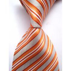 Галстук серый с оранжевыми, красными и белыми полосками - купить в Киеве и Украине по недорогой цене, интернет-магазин