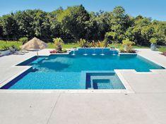 Geometric Pool built by Blue Haven Pools Oklahoma City, OK. Backyard Pool Landscaping, Backyard Pool Designs, Swimming Pools Backyard, Swimming Pool Designs, Lap Pools, Indoor Pools, Backyard Ideas, Luxury Swimming Pools, Luxury Pools