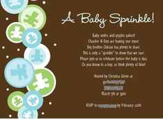 invitation wording for baby sprinkle. I'm showing you this because I think this falls under your jurisdiction.