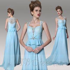 Elegant Square Beading Diamond A-Line Floor Length Evening Dress