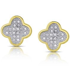 Finesque Gold Over Sterling Silver Diamond Accent Clover Stud Earrings (I-J, I2-I3) (OSE1297-GP), Yellow, Size Small