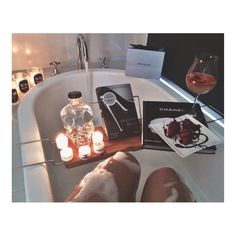 Relax with a book, strawberries, moscato, and a bubble bath. Houses Architecture, Relaxing Bath, Just Relax, Relax Relax, Spa Day, Bath Time, Bath Bombs, Hygge, Spring Break