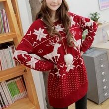 2016 Winter Women Sweater Long Sleeve for Christmas Fashion cute deer maple leaf pattern sweater with O-Neck Girl sweaters(China (Mainland))