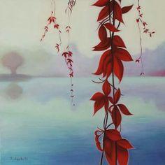"""Dipinto originale, arte contemporanea, olio su tela, 60x60 cm. """"Hope red flowers"""", ideale per arredamento moderno, ambientazione orientale, paesaggio con fiori rossi a cascata, regalo originale, regalo nozze."""