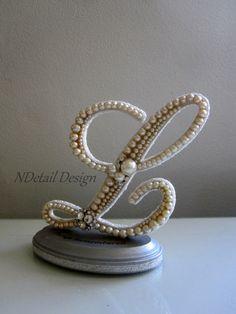 Wedding Cake Topper Monogram Vintage Pearl Letter by NDetailDesign, $105.99