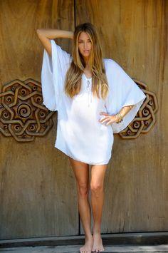 white beachy shift dress
