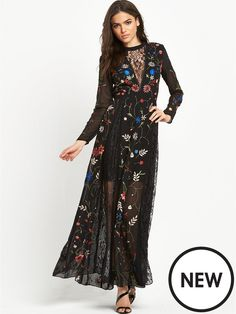 Miss Selfridge Embroidered And Lace Maxi Dress