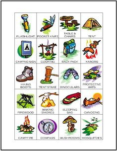 MakingFriends Camping Bingo Print our camping themed BINGO game with 12 unique cards featuring words and pictures of camping gear. This is a great rainy day Girl Scout camp activity for any level or a pre-camp progression activity as Juniors begin to earn their Camping Badge.