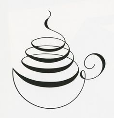 "Calligraphy coffee cup. love this as a logo. ""fancy beans coffee and tea bar"""
