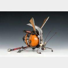Australian sculptor James Corbett uses old car parts to create magical animals