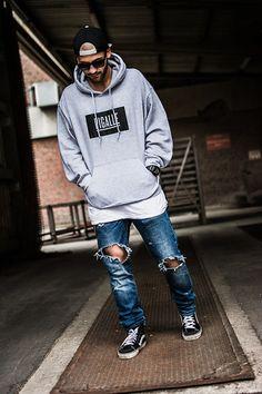 Obey Snapback, Pigalle Paris Pigalle Hoodie, H&M Destroyed Jeans ( Custom ), Vans Sk8 Hi