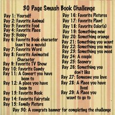 30 Page Smash Book Challenge for a small smash book