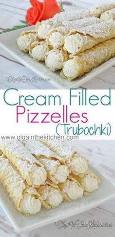 Cream Filled Pizzelles (trubochki): Creamy, sweet, beautifully shaped dessert that is super tasty with a cup of coffee or tea. 13 Desserts, Italian Desserts, Cookie Desserts, Italian Recipes, Cookie Recipes, Delicious Desserts, Dessert Recipes, Italian Cake, Italian Foods