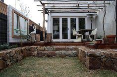 love this stone wall edging Cabin, Explore, Backyard Ideas, Garden Ideas, Outdoors, Design, Mirror, Stone, Wall