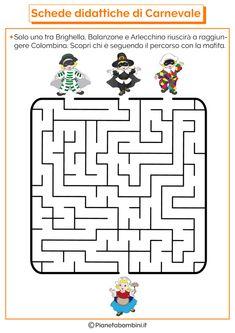 Schede Didattiche di Carnevale per la Scuola dell'Infanzia   PianetaBambini.it Pixel Art, Word Search, Techno, Coding, Games, Words, Martini, Vacation, Kids Learning Activities
