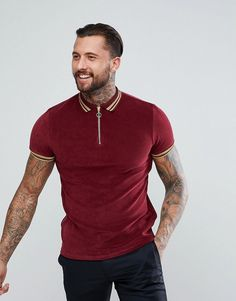 ASOS Polo Shirt In Towelling With Gold Metallic Tipping - Red