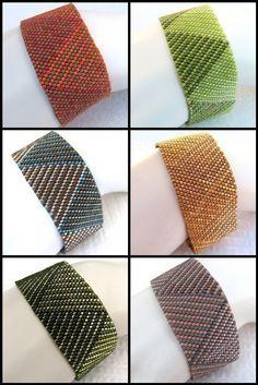 Peyote Pattern Log Cabin Braid Cuff / Bracelet A by SandFibers Mais