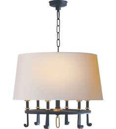 Visual Comfort Thomas OBrien Calliope 6 Light Hanging Shade in Blackened Rust with Antique Brass TOB5135BR/HAB-NP #visualcomfort