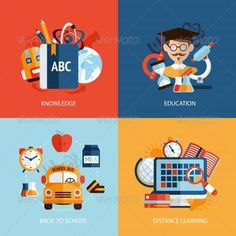 Education Icons Set by macrovector Education knowledge school distance learning icons set isolated vector illustration. Editable EPS and Render in JPG format